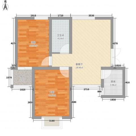 屹立温泉花园74.50㎡标准层B户型2室2厅1卫1厨
