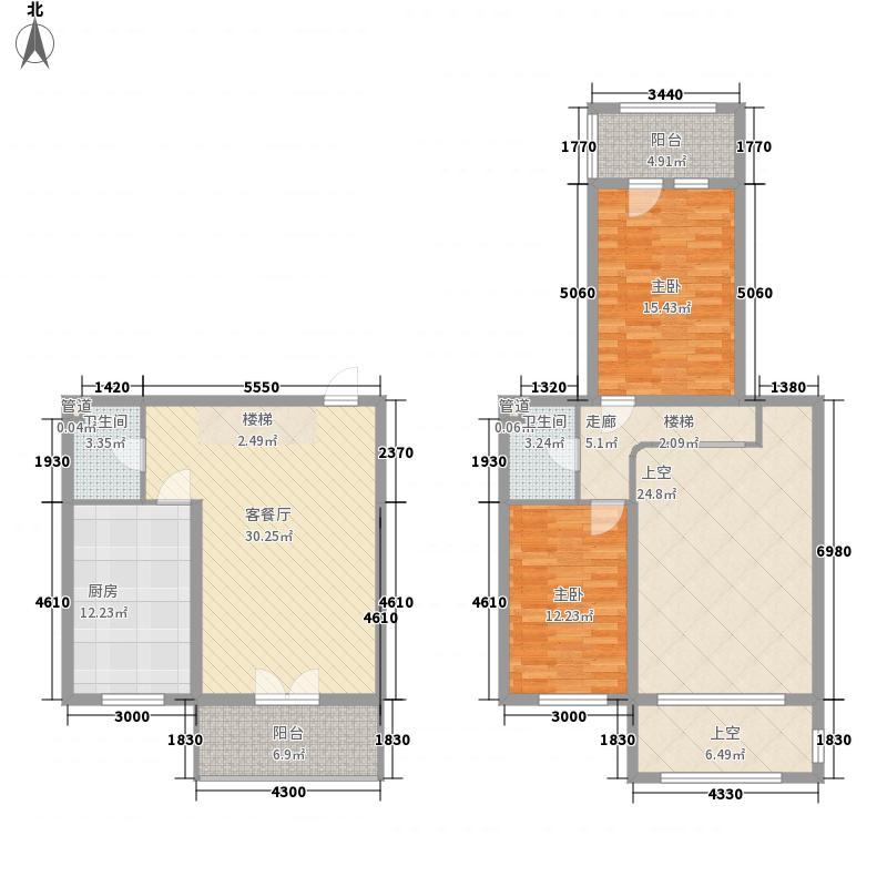 00㎡富佳新天地户型图e-4复式户型2室2厅2卫1厨户型2室2厅2卫1厨图片