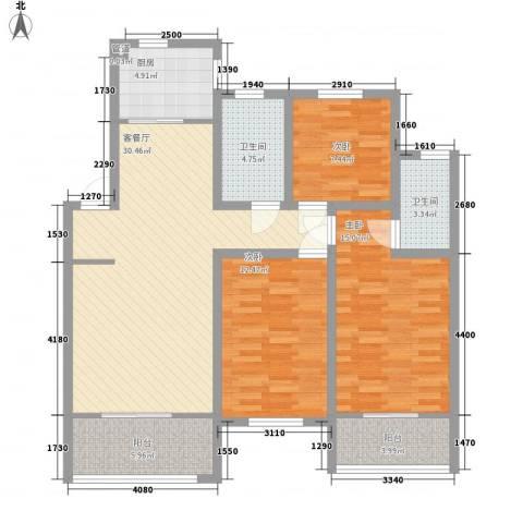 天一家园128.00㎡户型3室2厅2卫1厨
