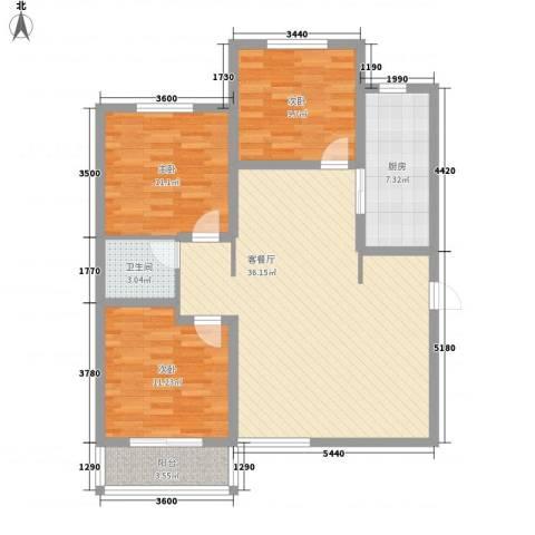 丽景名都三期117.78㎡1#楼D户型3室2厅1卫1厨