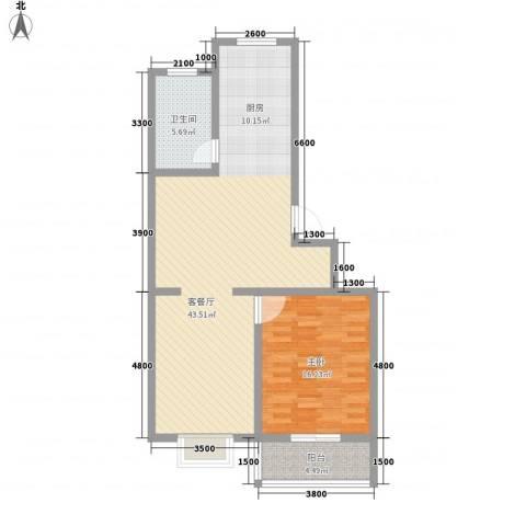 银州世纪家园88.23㎡A户型1室1厅1卫1厨