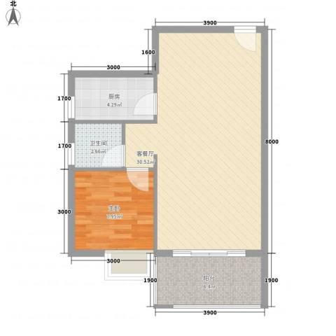 新城国际64.30㎡一期C5户型1室2厅1卫1厨