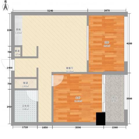 韩国城76.38㎡A户型2室2厅1卫1厨