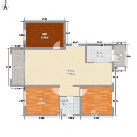 阳光乘风新城117.00㎡二期F2户型3室2厅1卫