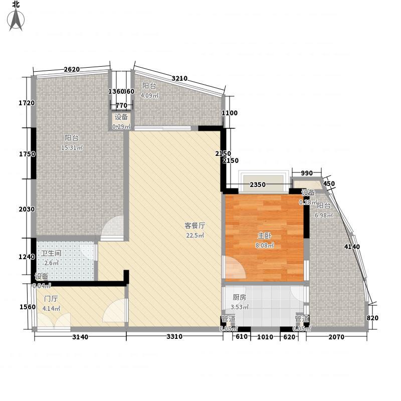 ㎡半岛花园户型图02户型1室2厅1卫户型1室2厅1卫  海南 琼海 半岛花园