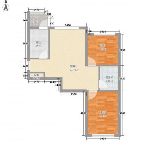 文景清华园72.80㎡3号楼B户型2室2厅1卫
