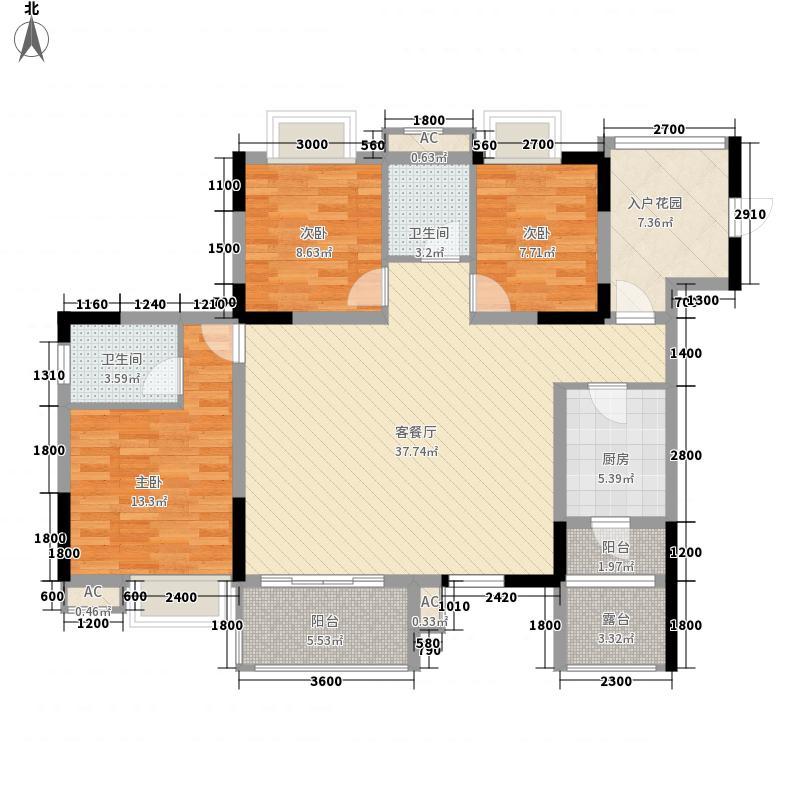 金龙星岛国际121.81㎡3号楼a户型3室2厅2卫1厨