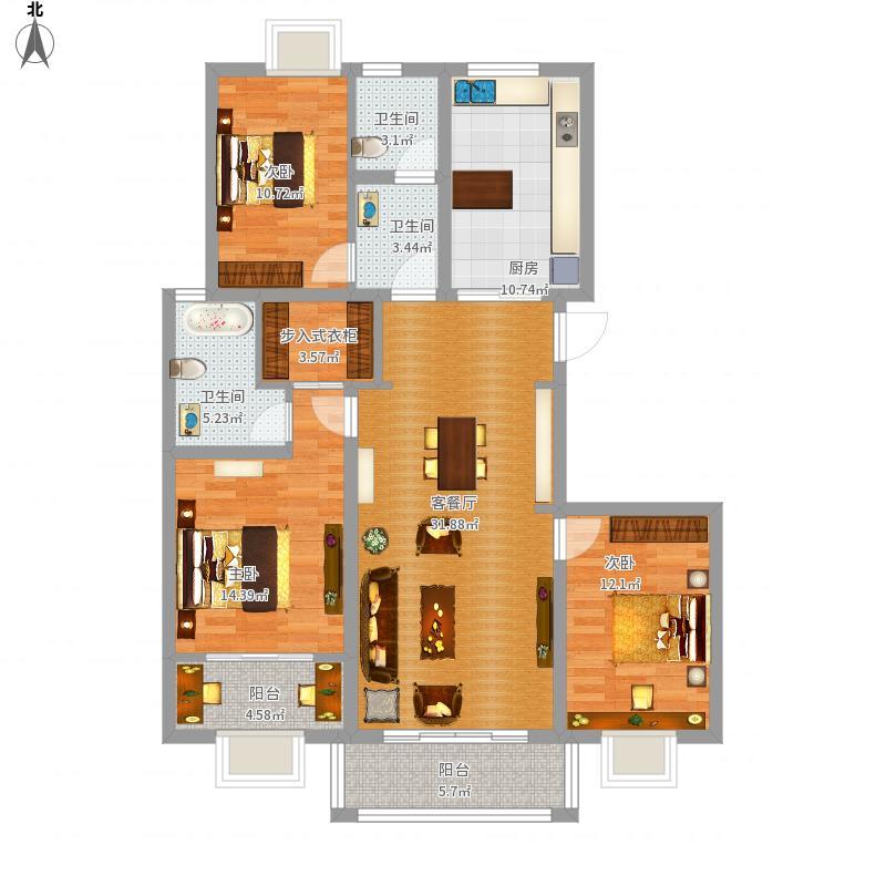 锦绣江南140平三室两厅两卫-副本-副本户型图大全,图
