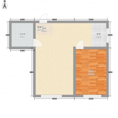 兴隆家园3#标准层I户型1室1厅1卫