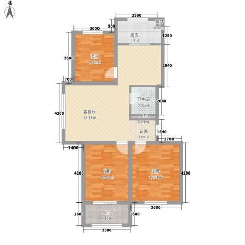 左岸香颂17.80㎡c户型3室2厅1卫1厨