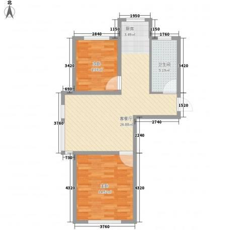 水岸新城77.00㎡2#户型2室2厅1卫1厨