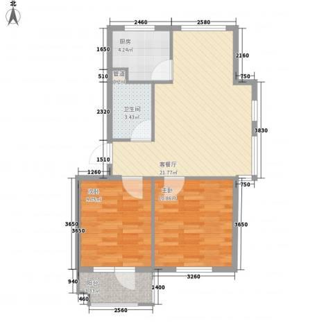 水岸新城75.00㎡11#户型2室2厅1卫1厨