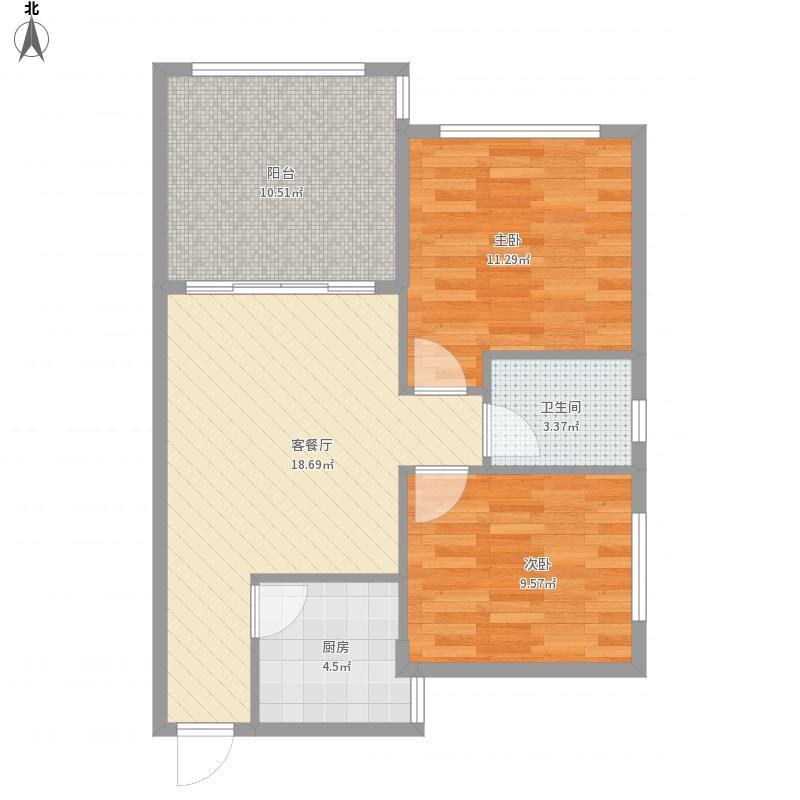 南郡a户型两室一厅一卫85平米