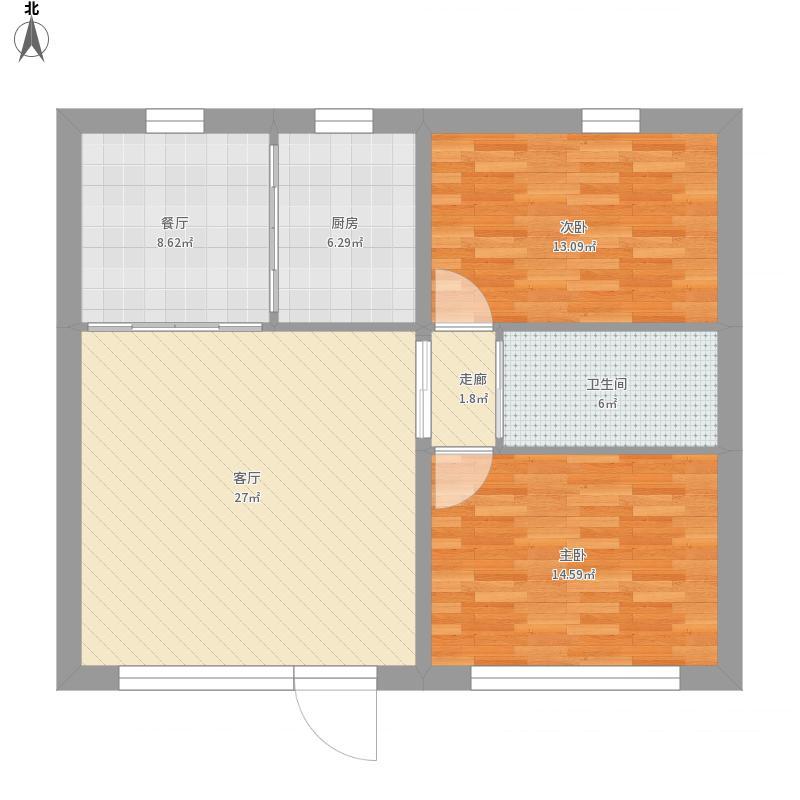 户型设计 新房平面设计图-副本  内蒙古 包头 未知小区 套内面积:77.