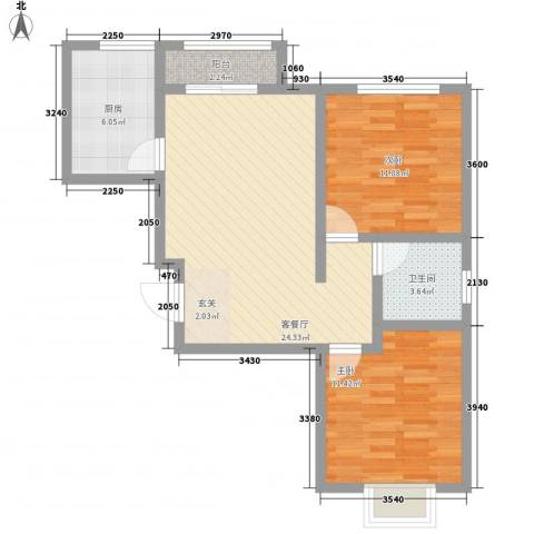 东方银座82.00㎡户型2室