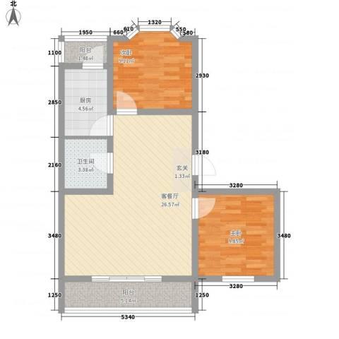 馨港庄园87.72㎡户型2室2厅1卫1厨