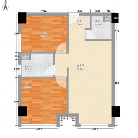 宁江公寓户型2室2厅1卫1厨