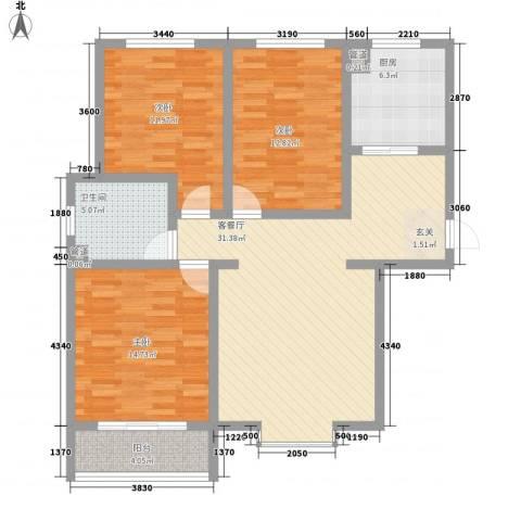 广厦上城124.73㎡8号10号楼A户型3室2厅1卫1厨