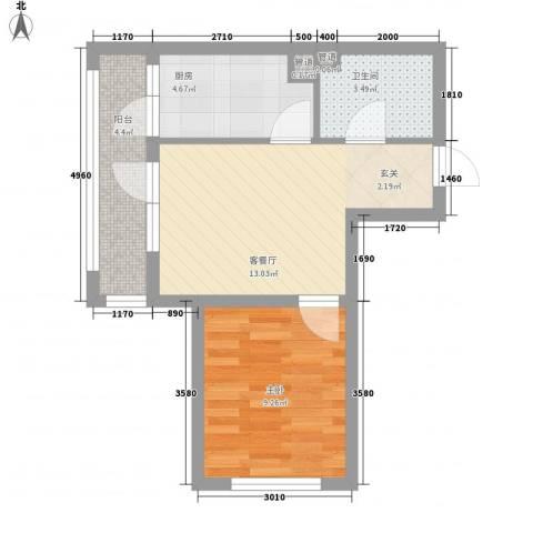 平谷蓝熙庭5.11㎡12#楼B户型1室1厅1卫1厨