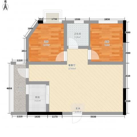 金洲城78.57㎡1#楼e户型2室2厅1卫1厨