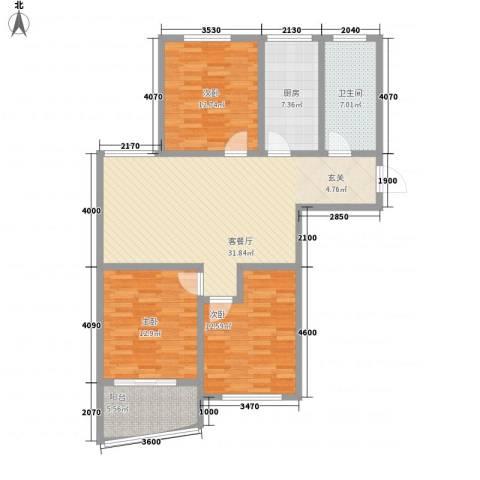 新富专家公寓127.00㎡三期高层2户型3室2厅1卫1厨