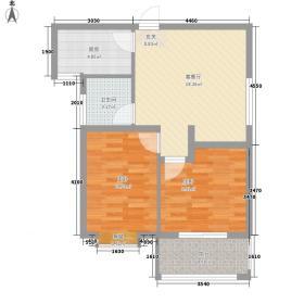 水映幸福城74.61㎡17/18号楼F户型2室1厅1卫1厨