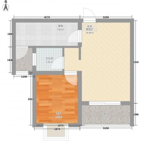 万马滨河城72.73㎡户型1室2厅1卫1厨