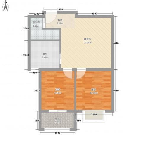 圣基铭座77.56㎡高层住宅户型2室1厅1卫1厨