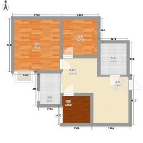 富豪新天地74.61㎡户型3室2厅1卫1厨