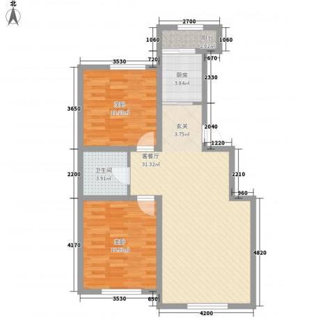 盛阳华苑4.63㎡D1户型2室2厅1卫1厨