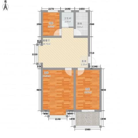西城国际6.45㎡阳光美邸多层户型3室2厅1卫1厨