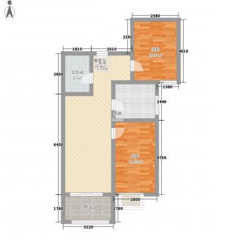 富康苑新区87.46㎡2号楼H户型2室2厅1卫1厨