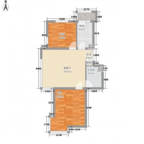 三江紫香园74.23㎡M7423-211户型2室1厅1卫