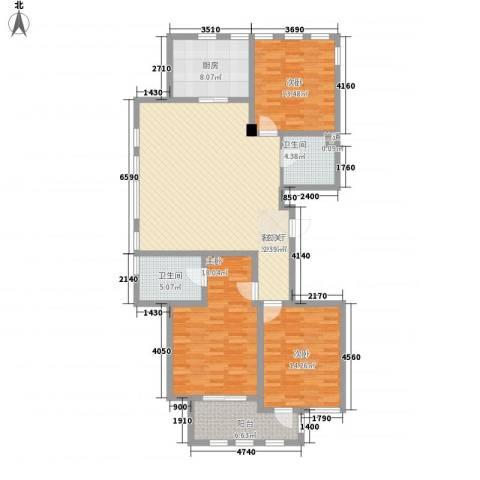 赛格特东城名苑156.00㎡A1户型3室2厅2卫1厨