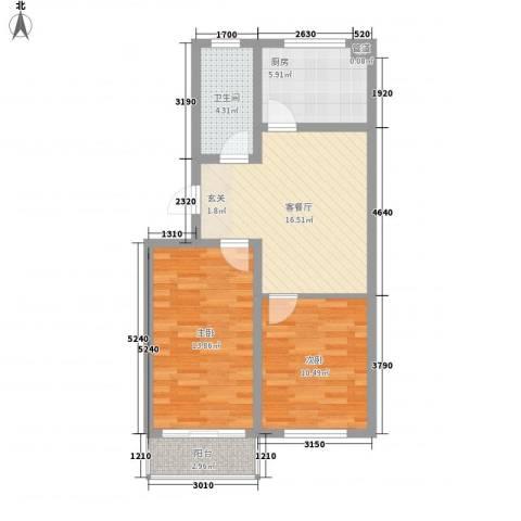 海滨花园丽景苑77.00㎡户型2室2厅1卫
