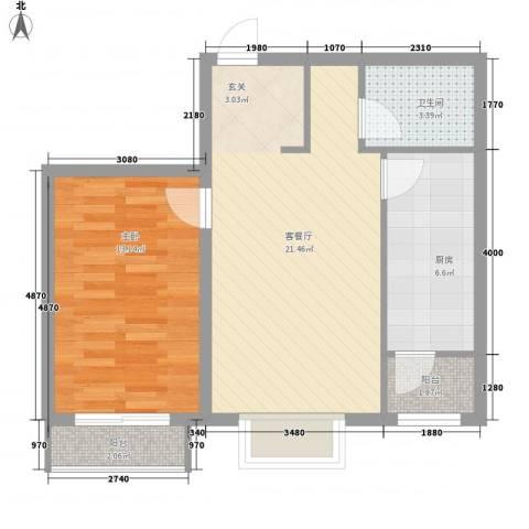 矩阵一期63.88㎡三期19#6单元户型1室2厅1卫1厨
