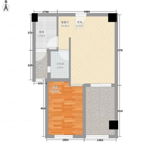 景隆现代城67.13㎡A2户型1室2厅1卫1厨