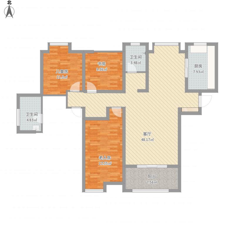 户型设计 淮矿和平盛世160方四房两厅两卫  安徽 合肥 淮矿和平盛世