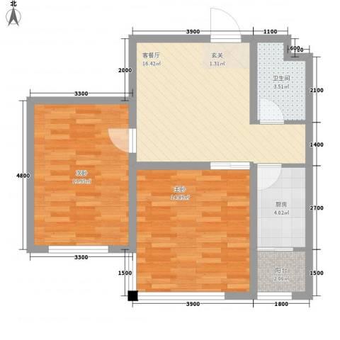 北方尚品77.30㎡A户型2室1厅1卫