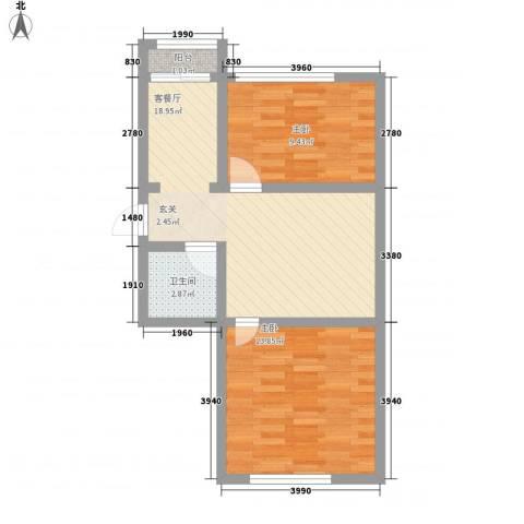 龙泰富苑67.60㎡户型2室2厅1卫