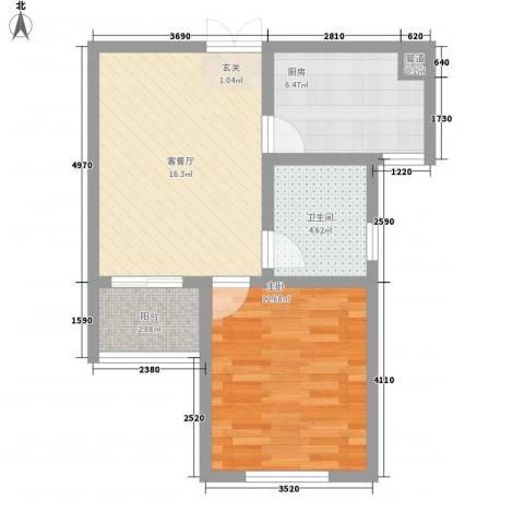香梅假日花园三期63.00㎡16号楼G5户型1室2厅1卫1厨