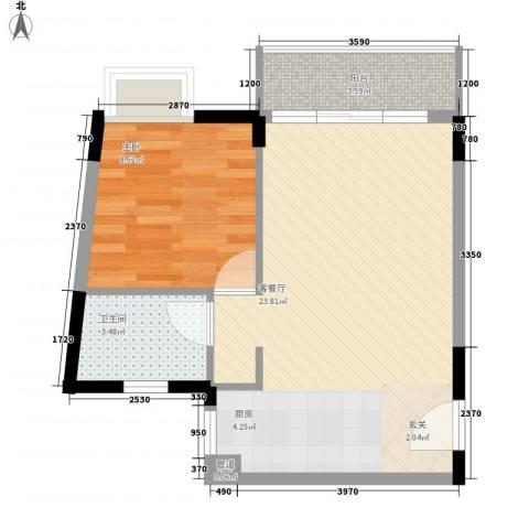 东方新城55.20㎡A3户型1室2厅1卫1厨