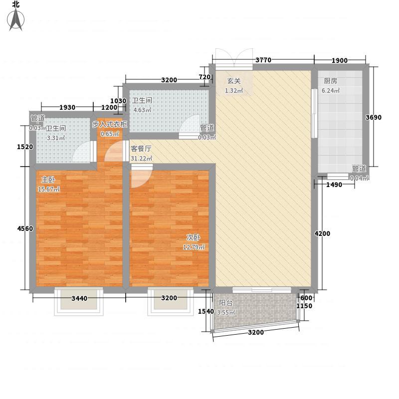 00㎡4号标准层b户型2室2厅2卫  山东 青岛 中南海湾新城 套内面积:77.