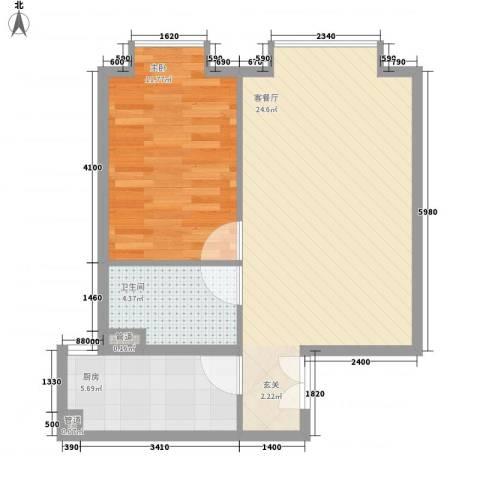 当代名筑64.64㎡户型1室1厅1卫1厨