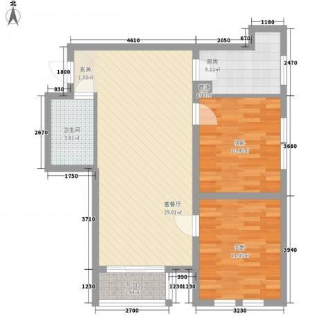 中宏美丽园二期88.80㎡K户型2室1厅1卫1厨