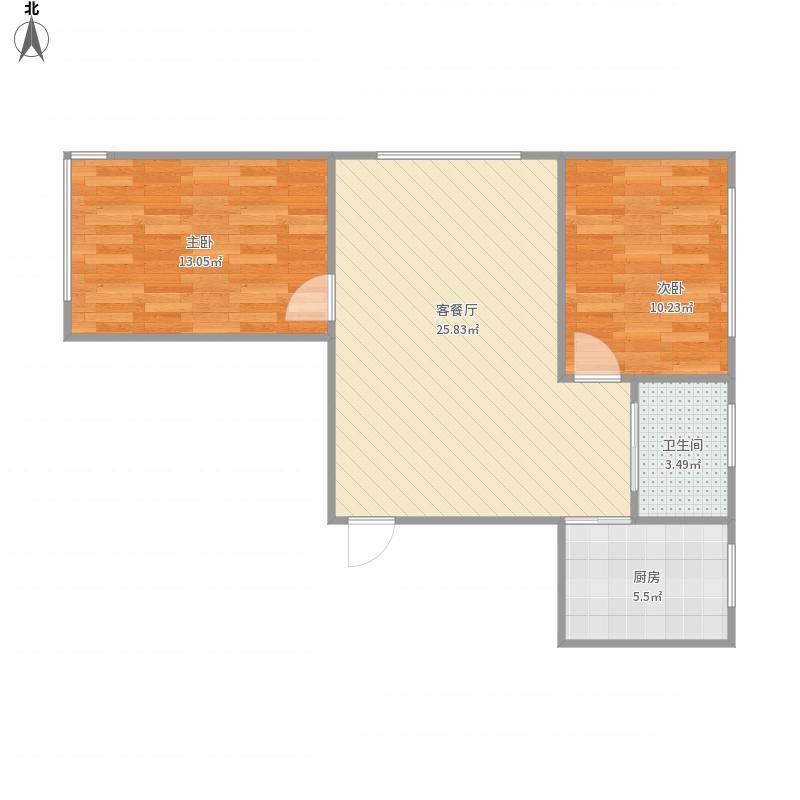 辽宁 鞍山 b户型两室一厅一卫 户型图