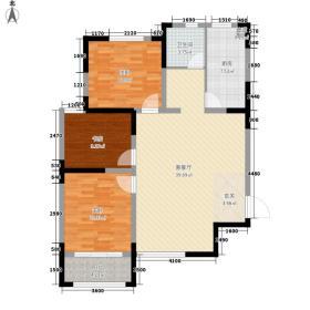 顶峰国际公寓126.00㎡B户型3室2厅1卫1厨