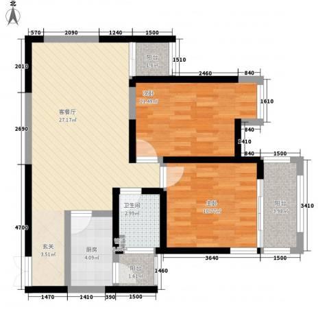 绿地乐和公馆91.00㎡绿地乐和公馆户型图B-2户型2室2厅1卫1厨户型2室2厅1卫1厨