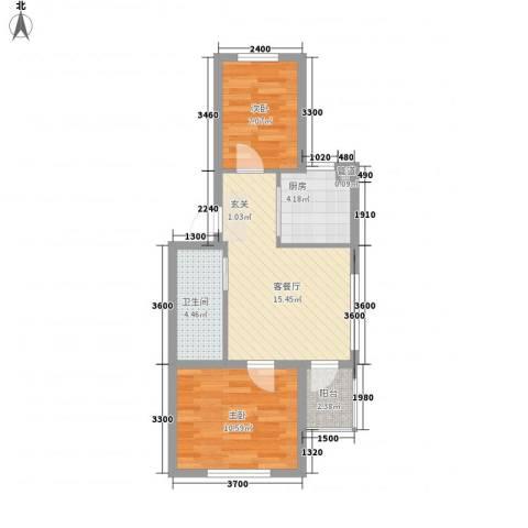 渤海龙江花园58.76㎡A3户型2室1厅1卫1厨