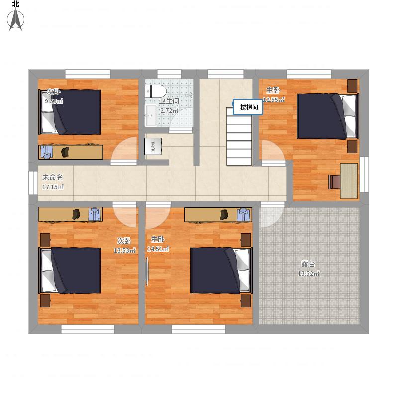 户型设计 农村自建房2  重庆 三道厅 套内面积:83.